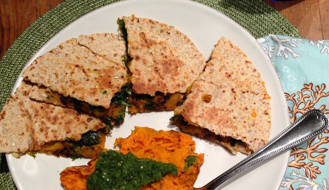 butternut squash + kale quesadillas