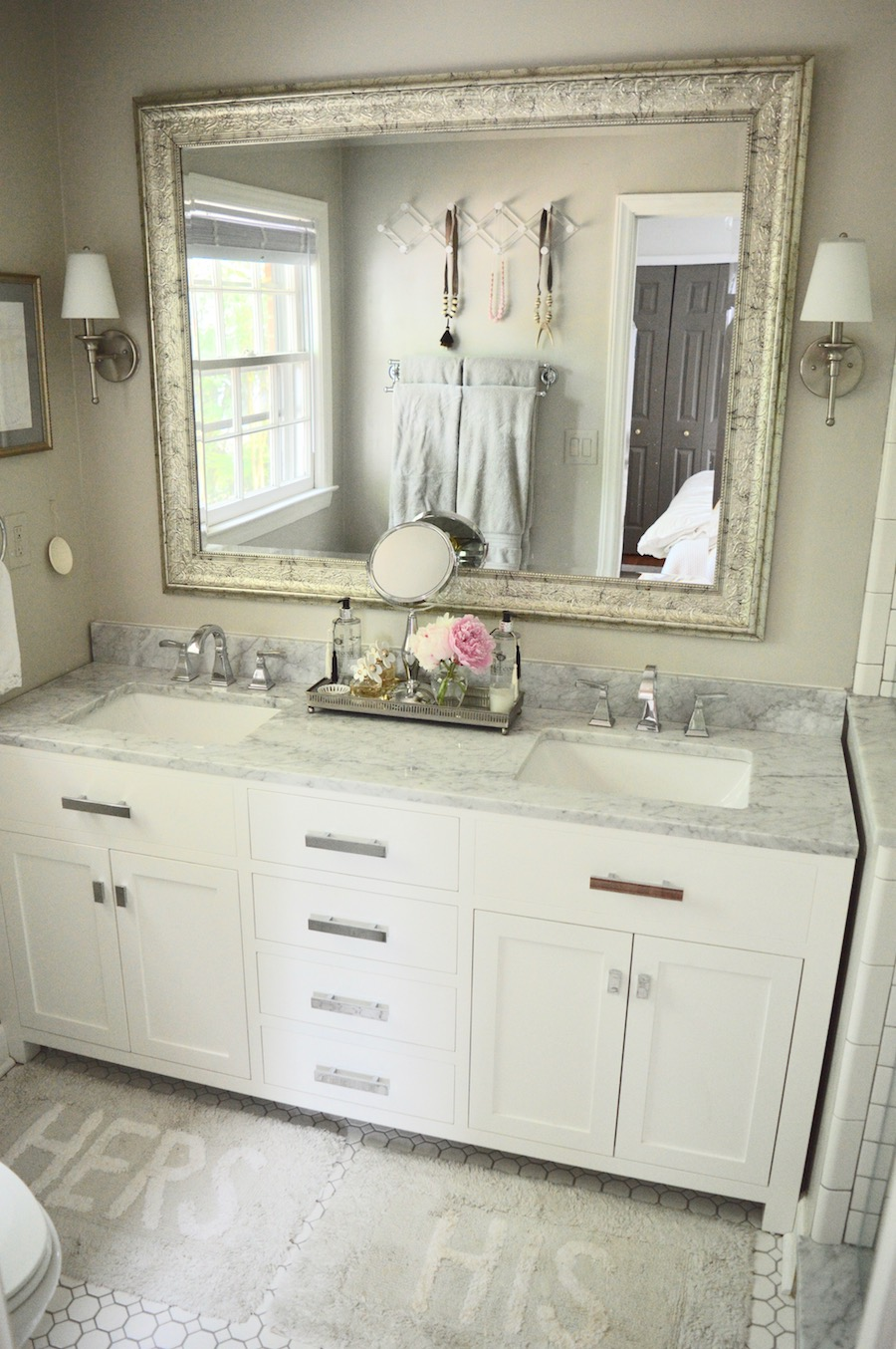 Master bathroom reno reveal gray white marble and subway tile dsc1013 dailygadgetfo Gallery